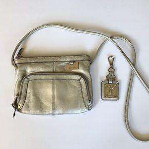 Tignanello Metallic Silver Leather Crossbody